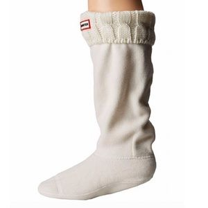 HUNTER Natural White 6 Stitch Cable Boot Sock